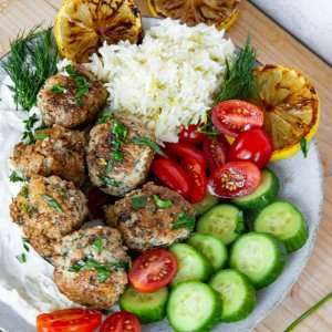 Greek meatballs with zesty lemon rice